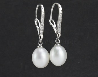 bridesmaid earrings jewelry,leverback pearl earrings closed,bridal pearl earrings,wedding pearl earings,ivory white drop pearl earrings,