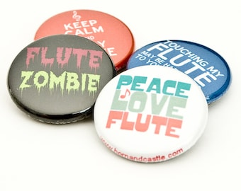 Flute Zombie plus three Music and Band Themed 1 inch buttons or magnets - FL 4