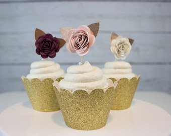 Rose Cupcake Toppers, Floral Cupcakes, Rose Toothpicks, Cupcake Decorations, Flower Cake, Floral Party Decor, Mini Paper Flowers