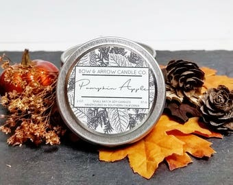 2 oz Natural Soy Candle Pumpkin Apple Scented   2 oz Tin Candle   Pumpkin Soy Candle   Fall Scents   Autumn Candle   Pumpkin Apple Scented  