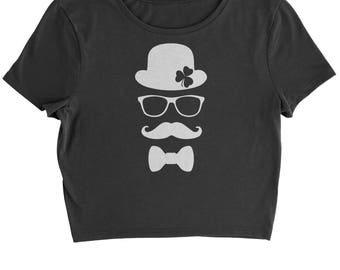Derby, Mustache and Shamrock Cropped T-Shirt