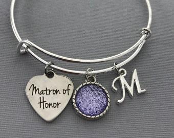 Matron of Honor Gift - Matron of Honor Proposal -  Purple Wedding Jewelry - Wedding -Matron of Honor bracelet - Matron of Honor Jewelry