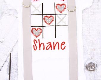 Boy Valentine's Shirt Tic Tac Toe gingham Valentine's Day Onesie boy Valentine's onesie with matching bow tie & suspenders onesie