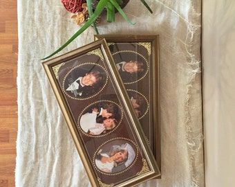 Picture Frame Set / Set of Two Vintage Picture Frames / Brass Picture Frames / Vintage Gold Frame / Vintage Brass Frame
