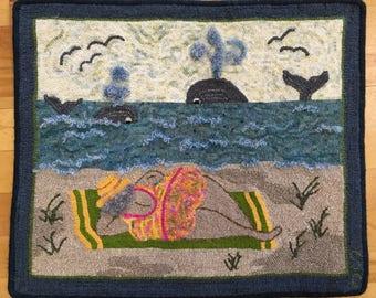 "Handmade Hooked Rug - ""Beached"" - Artist Original"