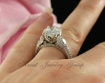 9mm Forever Brilliant Moissanite Engagement Ring in 14K White Gold, Pear Shape Moissanites ( rose gold, yellow gold and platinum available)