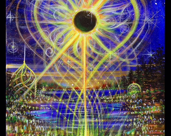 Eclipse/Sunflower~ Prints ~ Painted live w/ Mike Love and Full Circle at Oregon Eclipse Gathering 2017