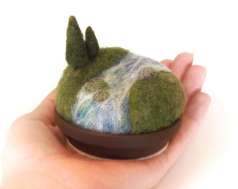 Pincushion Pin Cushion Woodland Pines on the River, Miniature Scenic Nature Landscape, Unique Sewing Gift, Crafty Mom Gift, Made To Order