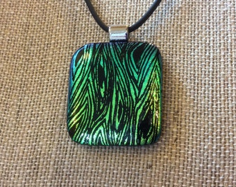 Dichroic Fused Glass Necklace - engraved