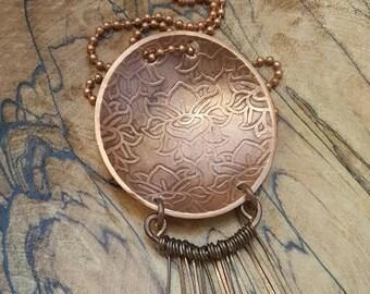 Copper Pendant - Lotus Flower With Fringe