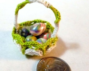 Miniature Green and White Crochet Basket