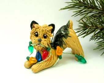 Norwich Terrier Porcelain Christmas Ornament Figurine Clay Lights
