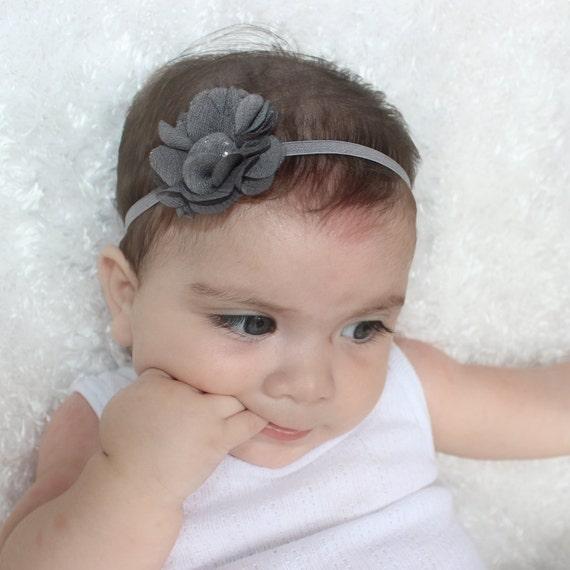 Newborn Headband, Flower Headband, Baby Headband, Gray Headbands, Handmade Headband, Infant Headband, Newborn Headband, Headband with Flower