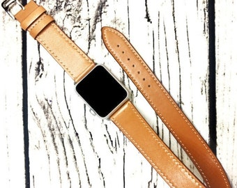 Apple Watch Band Double Wrap Handmade Leather 38mm apple watch band 42mm iWatch Strap Apple watch strap Nut Brown iWatch Band do
