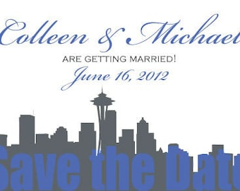 SEATTLE Silhouette Wedding Save the Date Postcard