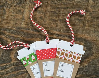 Coffee Cup Gift Tags (set of 3)