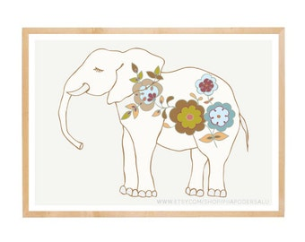 Elephant Wall Art | Modern Nursery Decor