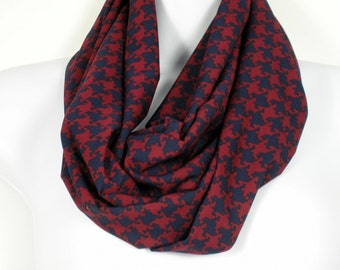 Womens Gifts Burgundy Navy Houndstooth Infinity Scarf Silky Infinity Scarves Houndstooth Circle Scarf Burgundy Houndstooth Circle Scarf