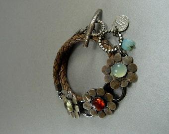 Citrine, Chalcedony, Amber, gemstone Bracelet, Sterling Silver, Wrap Bracelet, Leather Bracelet, Artisan Bracelet, art jewelry, flower