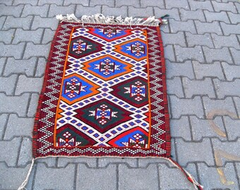 free shipping VINTAGE TURKİSH mut cecim kilim Anatolian handwoven kilim rug decorative kilim - SİZE : 24'' X 40'' ( 74 cm X 100 cm)