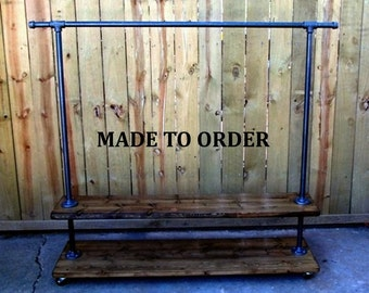 Clothing rack, garment rack, reclaimed wood, storage rack, clothing storage, hanging rack, clothes rack, made to order