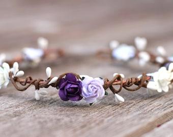 Purple Flower Crown Wedding Headband - Flower Crown Headband Ivory - Head Crown Floral Headpiece - Purple Hair Crown - Floral Crown Lilac