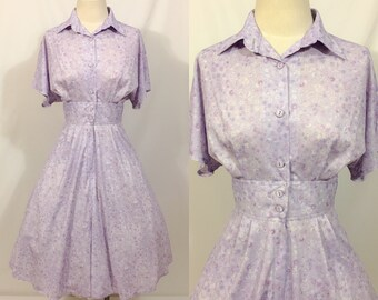 Vintage Floral Print Dress , 50s Style Day Dress, Fit and Flair Dress,