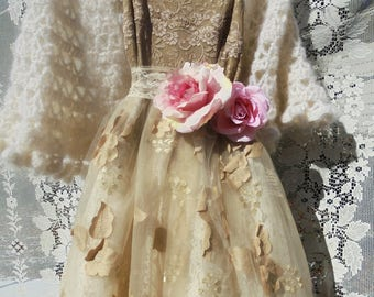 Floral tulle dress tea stained  lace   wedding  prom romantic boho outdoor bride small  by vintage opulence on Etsy