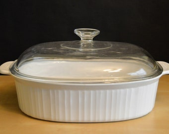 """Vintage Corning Ware F-14-B French White 4 Liter Deep Roaster with Pyrex F14C Lid, 14.5"""", Casserole Baker Baking Dish"""