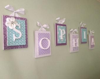 Purple Nursery Decor, Nursery Wall Letters, Girls Wall Letters, Wooden Letters for Nursery, Purple and Aqua Nursery Decor, Nursery Letter
