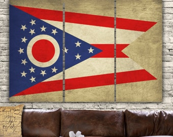 Ohio State Flag on Canvas - 3 panel set. Or choose any US State Flag. Vintage art, large Canvas Art, Buckeye State, Ohio art, Big Canvas