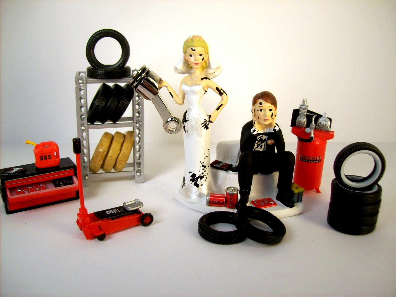 Funny Wedding Cake Topper Mechanics AUTO MECHANIC Tires &
