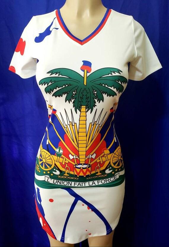 Haiti white flag shirt dress