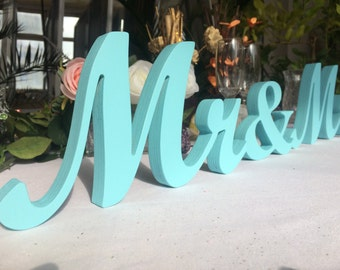 Blue Glitter Mr. & Mrs.Beach wedding decor, wooden letters, wedding reception, freestanding Mr and Mrs sign for top table. Wedding signage.