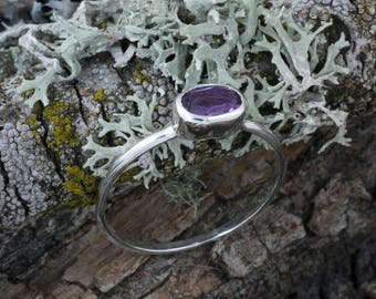 Amethyst ring, stacking ring, solitaire ring, gemstone ring, handmade, ethical jewelry,  ethical silver,  Green Jeweler