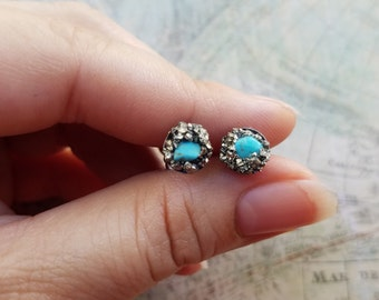 Small Turquoise Stud Earrings, Birthday Gift, Hypoallergenic Earrings, Turquoise Jewelry, Womens Earrings, Womens Turquoise Jewelry
