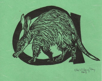 Aardvark A Monogram Linocut - Alphabet Typographical Lino Block With with Animal - A is for Aardvark