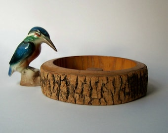 Vintage Nut Dish / Rustic Wooden Planter / Nature / Tree Slice