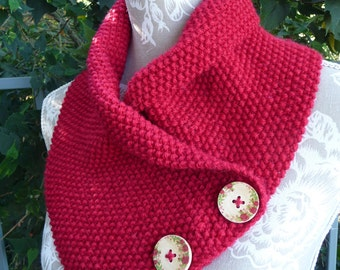 Red Roses Pure Wool Neck-warmer  -  1630