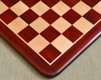 """Wooden Chess Board Blood Red Bud Rose Wood 21"""" - 55 mm from India. SKU: D0131"""
