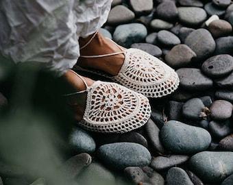 White - Crochet Shoes made with Hemp Yarn