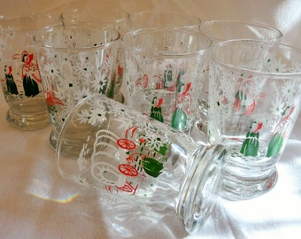 8 CONESTOGA WAGON GLASSES Libby