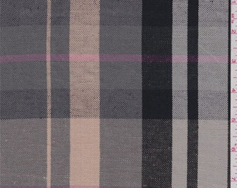 Grey/Peach/Pink Plaid Linen, Fabric By The Yard