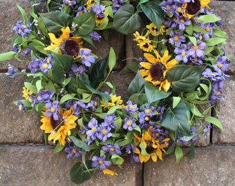 Artificial Sunflower wreath,  Spring wreath ,Easter Wreath ,Flower Wreath  Purple wreath ,summer wreath