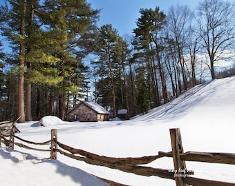 New England Snow Scene Cabin Woods Original Photograph