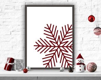 Snowflake Printable, Holiday Print, Christmas Art Print, Christmas Red Decor, Holiday Wall Decor, Christmas Decor, Home Decor
