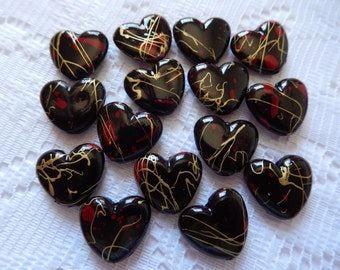 15  Black Red & Gold Swirled Heart Acrylic Beads  16mm