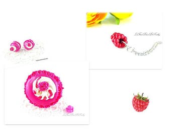 Necklace pink ring and set raspberry macarons earrings