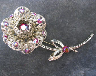 Sarah Coventry Fashion Flower Brooch Pin Book Piece Vintage