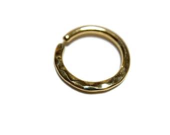 Solid 14 Karat Yellow Gold Hammer Texture Septum Ring